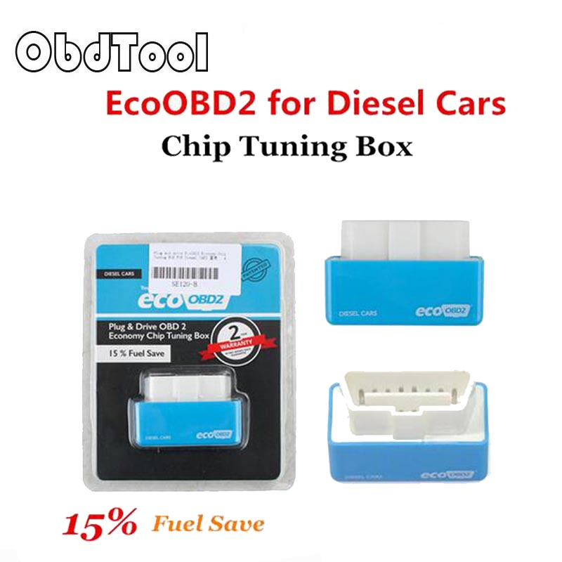 OBDTOOL Economy EcoOBD2 Chip Tuning Box Blue 15% Fuel Save Eco OBD2 For Diesel Cars More Power & Torque Eco OBD Diesel Interface цена