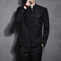 In 2018 the new China wind gentleman tunic suit collar men Chinese dragon male shirt and trousers leisure suit