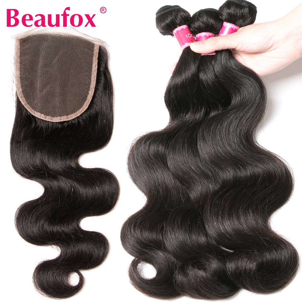 Beaufox Brazilian Body Wave With Closure 3 Bundles Human Hair Bundles With Closure Free Part Non Remy Hair Extensions