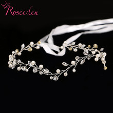 handmade pearl with crystal beads wedding girls headdress Bridal Jewelry hair ornaments party Ribbon RE600