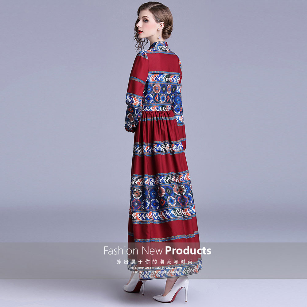 Merchall Designer Dresses Runway 2018 High Quality Print Long Sleeve Tunic Dresses Casual Floor Length Party Robe Femme Longue in Dresses from Women 39 s Clothing