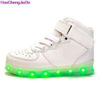 HaoChengJiaDe Led Luminous Sneakers Girl Boys Casual Children Shoe High Glowing With Recharge Lights Up Simulation