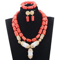 New Real Coral Bridal Beads Jewelry Set Indian Wedding Gold Necklace Earrings Set Gold Jewelry Set