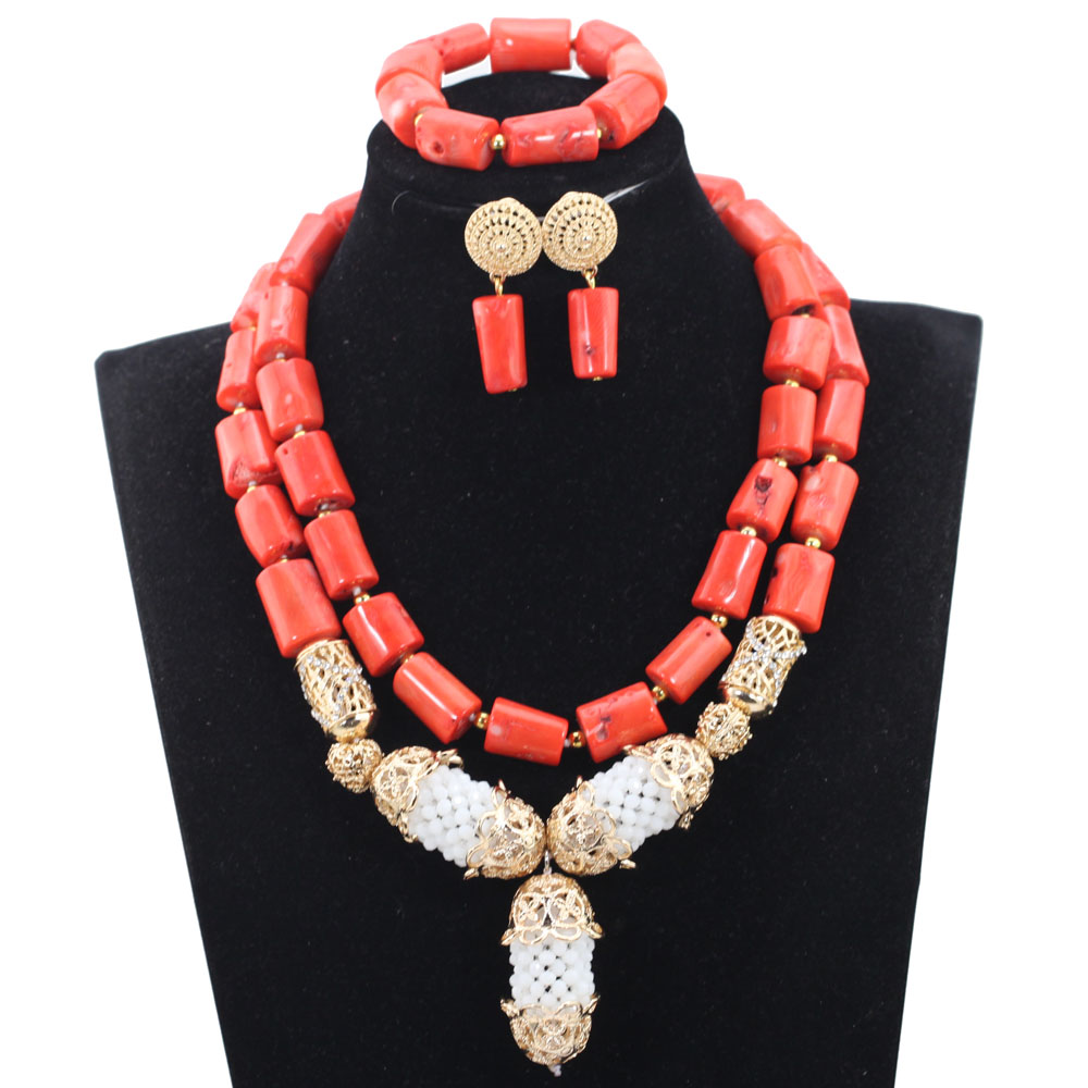 New Real Coral Bridal Beads Jewelry Set Indian Wedding Gold Necklace Earrings Set Gold Jewelry Set for African Wedding ABH486New Real Coral Bridal Beads Jewelry Set Indian Wedding Gold Necklace Earrings Set Gold Jewelry Set for African Wedding ABH486
