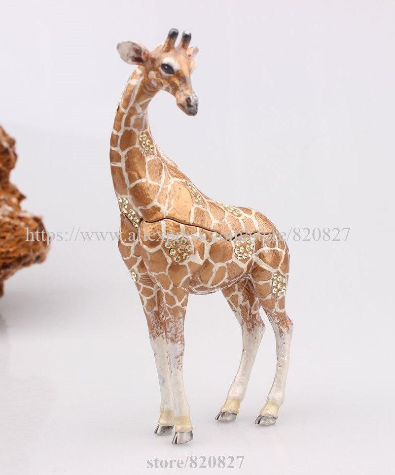 Vintage Stand Giraff Trinket Jewelry Box Giraffe Jeweled Crystal Keepsake Box Metal Giraffe Home Display Statue Giraffe Figurine