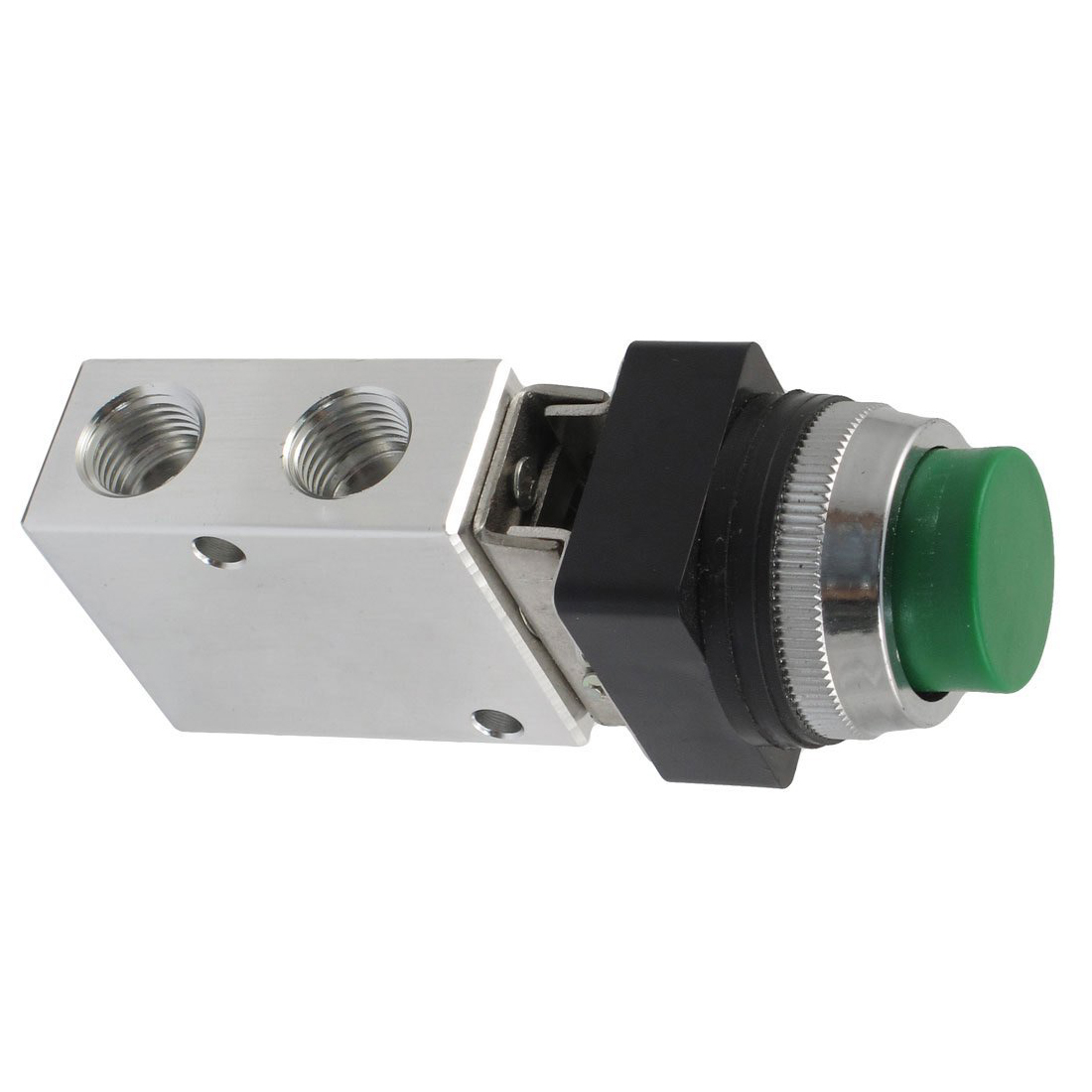 High Quality JM-322PPL 13mm Thread 2 Position 3 Way Green Push Button Air Mechanical Valve