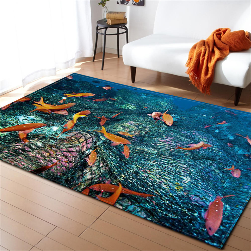 3D Ocean World Area Rug Children Room Decoration Rugs Memory Foam Water Absorption Non-Slip Mats Soft Flannel Carpet Living Room