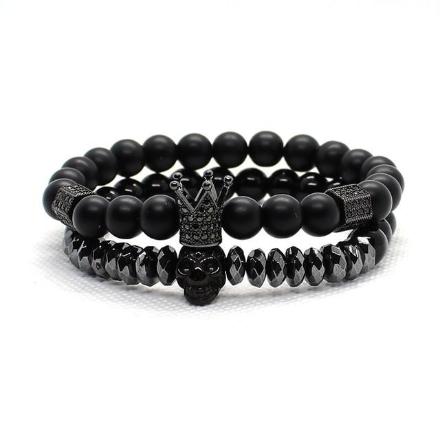 Bracelet Men Accessories Matte Oxyn Stone Beads Skull Erkek Bileklik Set Crown Jewelry Mens Bracelets For Women Pulseras Mujer 6
