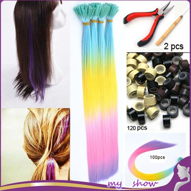 100pcs 20rainbow Purple Colour Hair I Tip Extensions Ball Hair