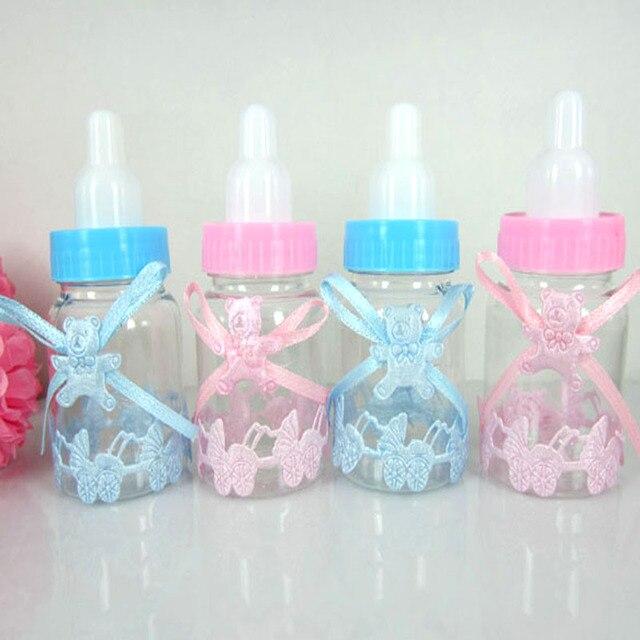 60pcs Mix Fillable Bottles Candy Box Bear Ribbon Baby Shower Baptism