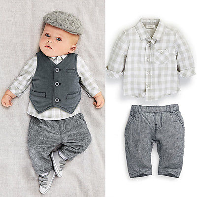 Fashion Newborn Infant Baby Boy Gentleman Cotton Grey Vest/Waistcoat+ Pants + Plaid Checked Shirts Clothes Sets Suit 3PCS 0-24M