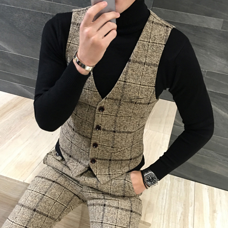 Quality Thick New Men Vest Winter Woolen Fashion Plaid Vest Men Formal Dress Suit Vest Slim