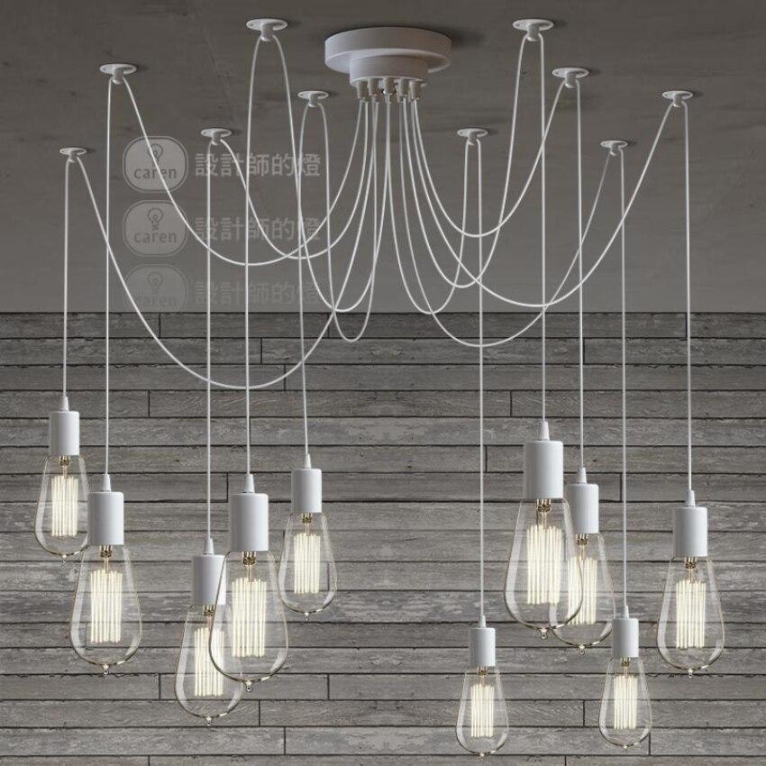 цены LOFT Modern White/Black Lustre chandeliers 6-16 Arms Retro Adjustable Edison Bulb Lamp E27 Art Spider Ceiling luminaire Fixture
