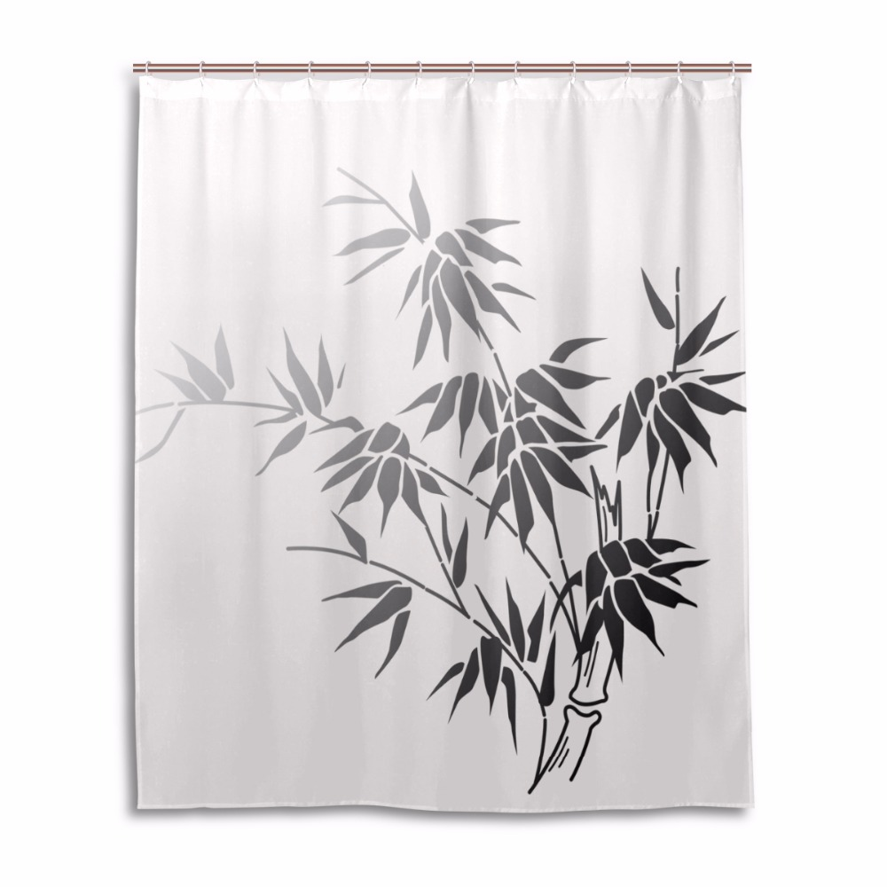 Black bathroom shower curtains - Leaves Shower Curtain Waterproof Mildewproof Bathroom Curtains Bath Curtains White Black Purple Green Red Yellow Blue