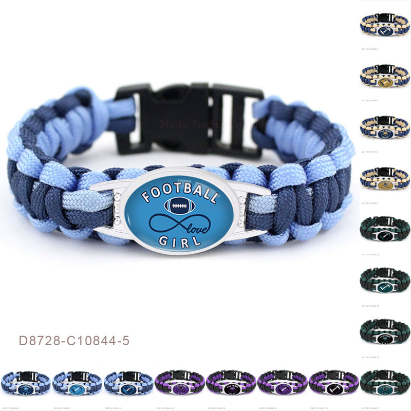 (10 PCS/lot)Football Infinity Girl Heart Charms Paracord Survival Camping Navy Blue Outdoor Bracelets For Women Men Jewelry