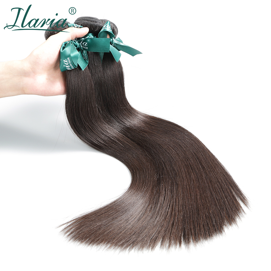 ILARIA HAIR Brazilian Straight Human Hair Bundles Lots 100% Unprocessed Remy Human Hair Weaves Natural Color Hair Extensions