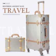 LeTrend Retro 26 inch Spinner Rolling Luggage Set Travel Bag Trolley Women 20/22/24 inch Suitcase Wheels Vintage Cabin Trunk(China)