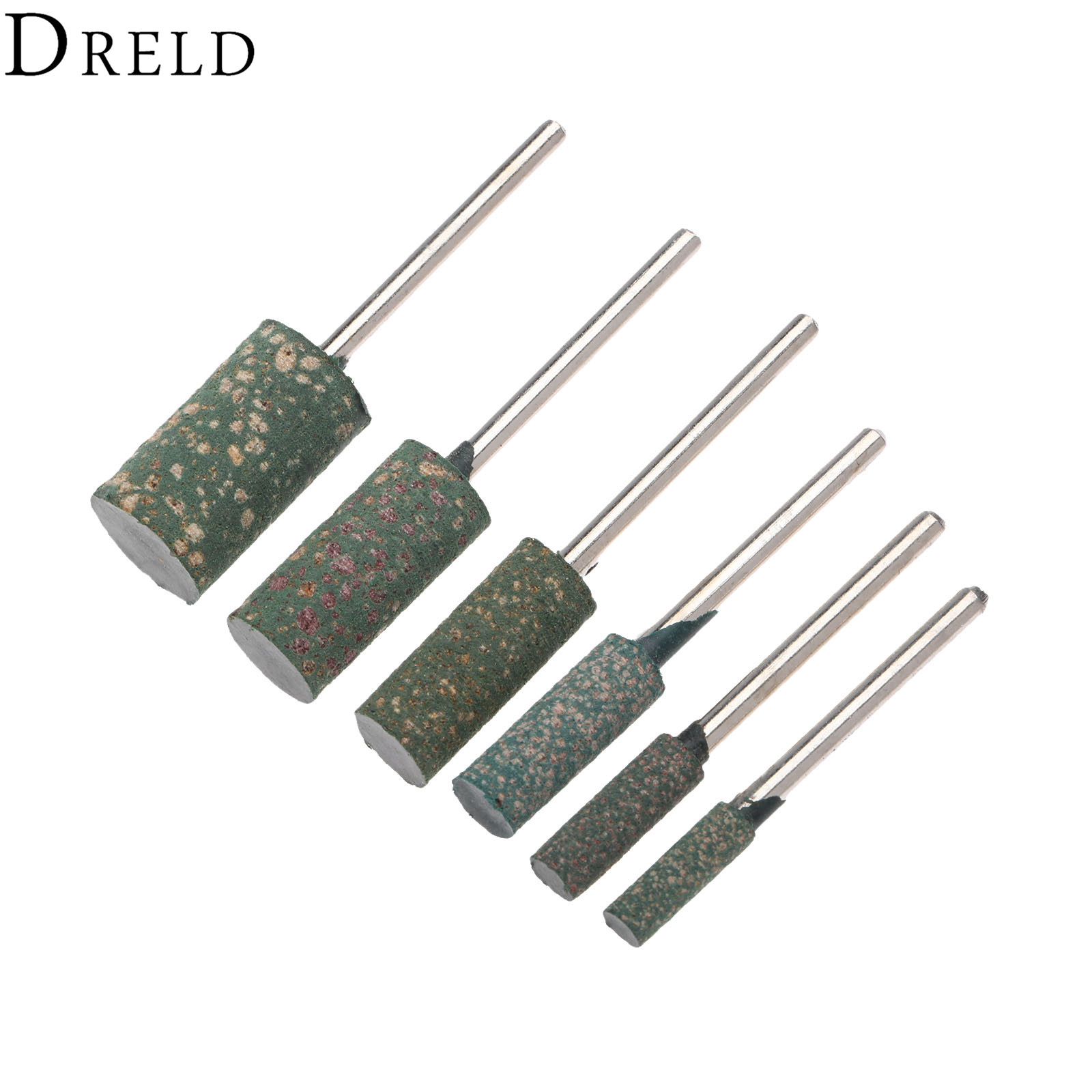 DRELD 6Pcs 3mm Shank Rubber Grinding Head Buffing Polishing Grinding Mounted Point For Metalworking Grinder Dremel  Rotary Tool