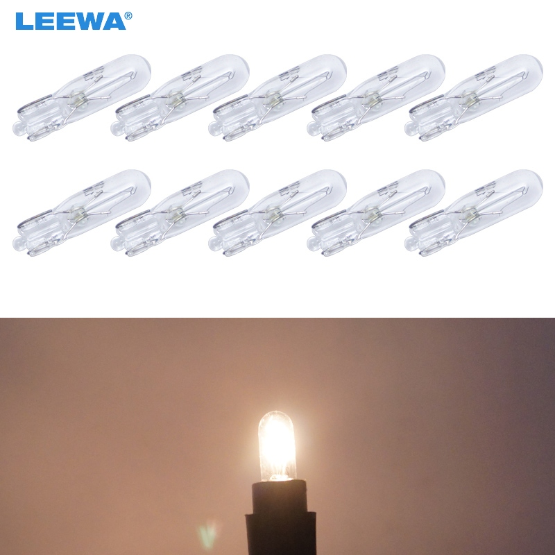 LEEWA 10pcs/box Warm White Car T5 Wedge 12V 1.2W Halogen Bulb External Halogen Lamp Replacement Dashboard Bulb Light #CA2933