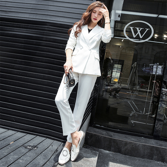 7d29c9628d06 Office Lady Two Pieces Sets Double Breasted Notched Solid Blazer Jacket +  Zipper Pant Work Suit