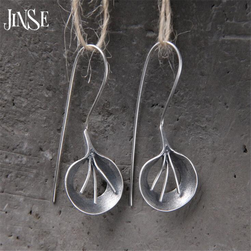 JINSE Brand Fashion National Bohemian Earring Jewelry Leaf Handmade Big Dangle Earrings S925 Pure Silver Earring 15mm*20mm