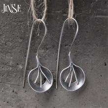 JINSE Brand Fashion National Bohemian Earring Jewelry Leaf Handmade Big Dangle Earrings S925 Pure Silver Earring 15mm*20mm