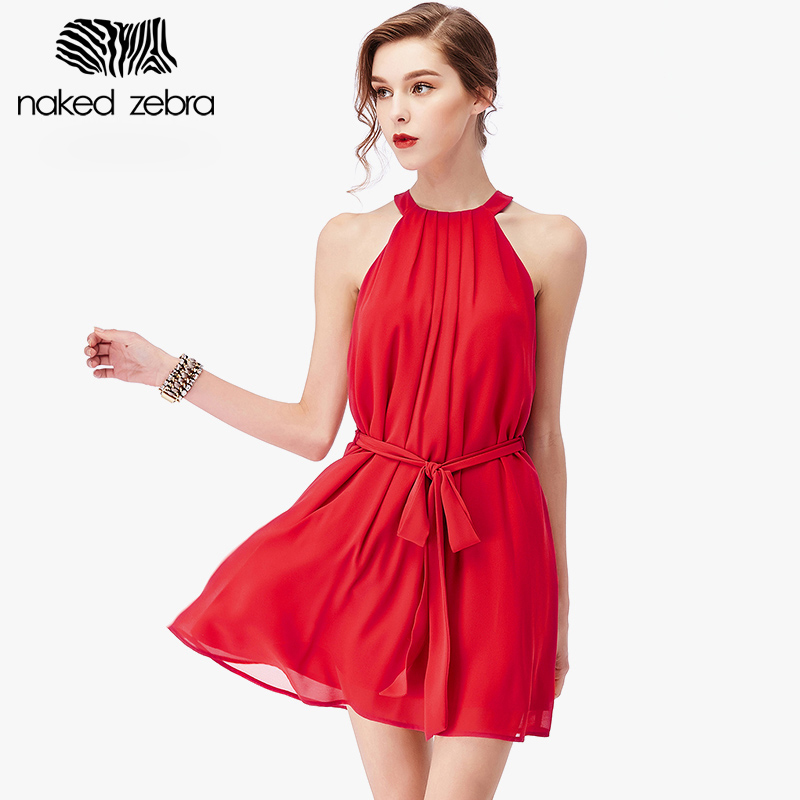 Buy Cheap NAKED ZEBRA 2016 Summer Cute Halter Dress Creative Design High Quality Chiffon Sleeveless Dress Holiday Short Backless Sundress