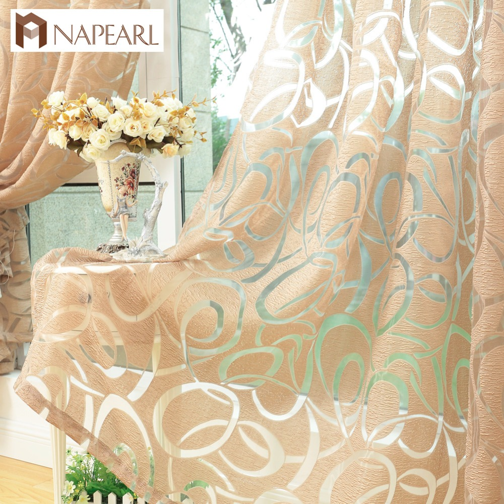 NAPEARL Modern Design Jacquard Window Curtain For Home Drapes Treatments Blind Living Room Custom Made Luxury Semi-sheer Fabrics