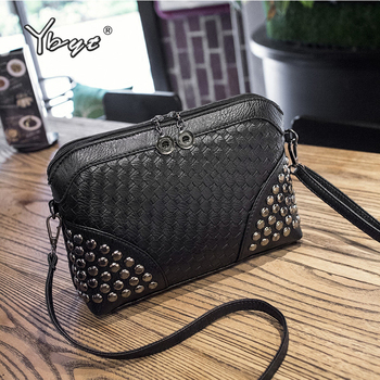 YBYT brand 2019 new fashion knitting rivet bags hotsale ladies cell phone evening clutch mini shoulder messenger crossbody