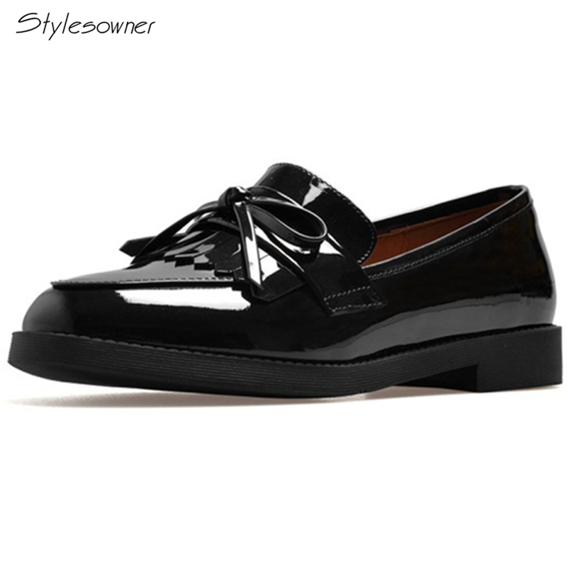 Styleowner 2018 Genuine Leather Flat British Style Loafers Classic Patent Leather Butterfly-Knot Fringe Casual Women Shoes Chic