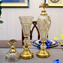 wedding decoration Creative European Reception Tank Crystal Glass with Cap Vase Decoration Candy Storage Tank Arrangements