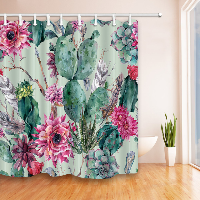 Cactus Flower Polyester Fabric Waterproof Shower Curtain Bathroom ...