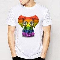 Gildan Baby Elephant With Glasses And Gay Pride Rainbow Flag T Shirt Funny Men S Short