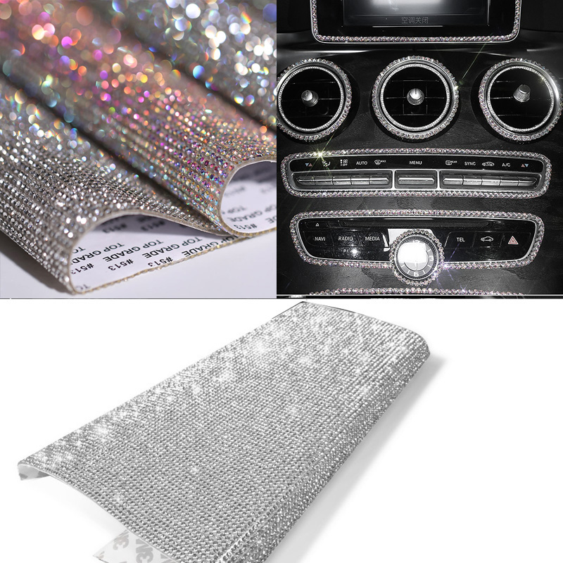 DIY Car Decoration Sticker Bling Crystal Rhinestone Car Stickers for License Plate Frame Emblem Door Handle Indoor Dashboard