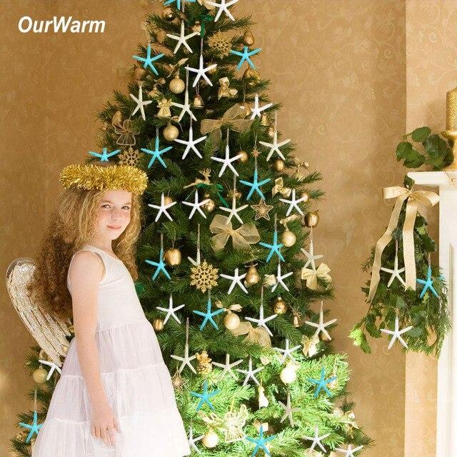 ourwarm 20pcs resin starfish christmas tree decorations hanging