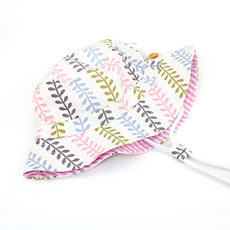 baby & kids girls summer fashion leaves print cotton casual fold-over bucket hats children sun hat play caps