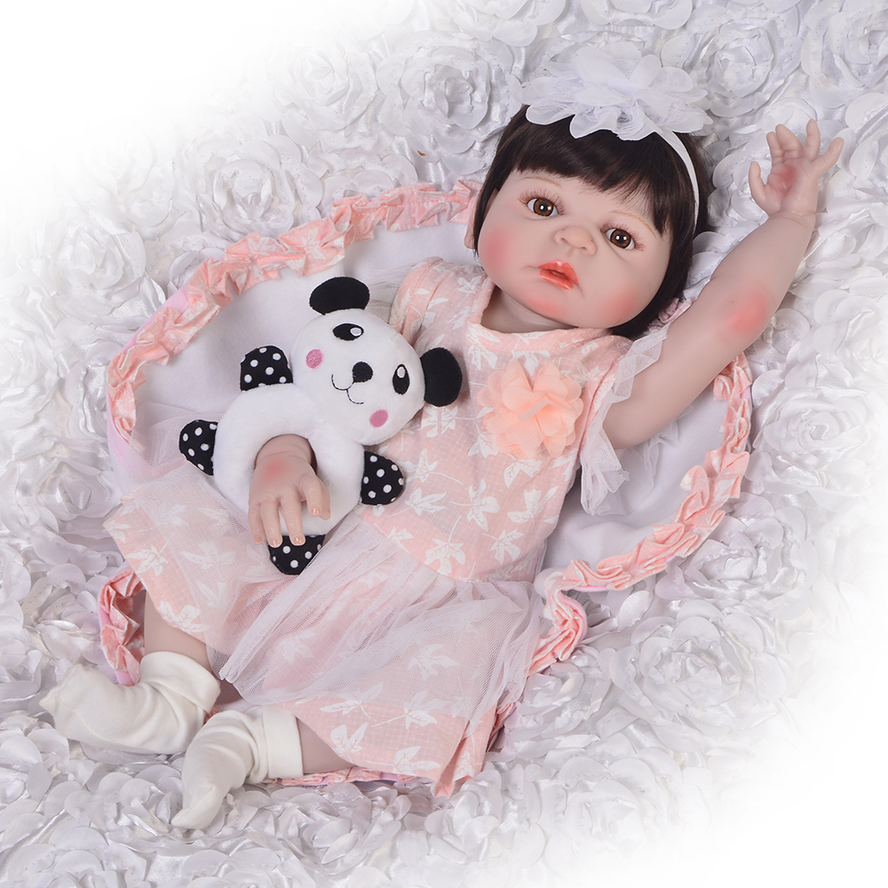 56cm Silicone Reborn Baby Doll with mini plush Toys 22 Vinyl Princess Toddler Girl Babies Doll fun bebe Gift Play House toy 56cm Silicone Reborn Baby Doll with mini plush Toys 22 Vinyl Princess Toddler Girl Babies Doll fun bebe Gift Play House toy