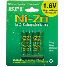 4 sztuk/partia 1.6v aaa 1000mAh akumulator nizn ni-zn aaa 1.5v akumulator potężny niż Ni-MH ni-cd baterii