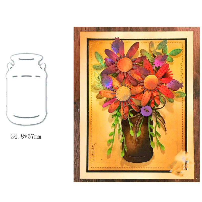 Flower Vase Metal Cutting Dies DIY Scrapbooking Template Embossing Stencil Handicraft Card Album Making Die Cut 2019 New