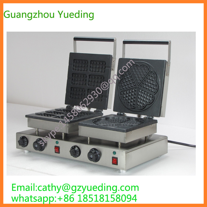 Commercial hot sellling double head Electric rectangle waffle maker/snack machine digital and commercial double head waffle maker rectangle waffle machine