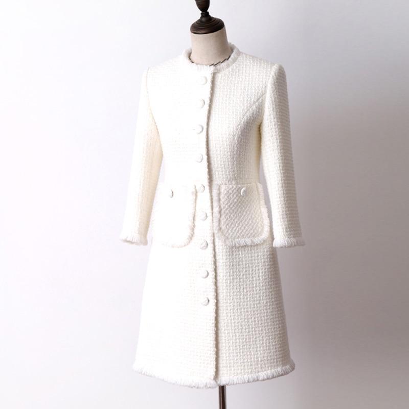 Mince Tweed Femme Laine Dans De Et Nouvelle point Longue Veste Section Manteau Automne Blanc Femmes La Manches D'hiver Pour Sept 0wO8XPnZNk