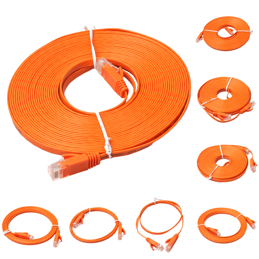 Flat CAT6 Ethernet Cable 250MHz 1000Mbps CAT6 RJ45 Networking Ethernet Patch Lead Cord LAN Cable For PS4/Xbox Router Laptop cat7 ethernet cable rj45 flat shielded sstp netwok lan cable patch cord 1 2 3 15 30m modem router laptop cat 7 ethernet cable