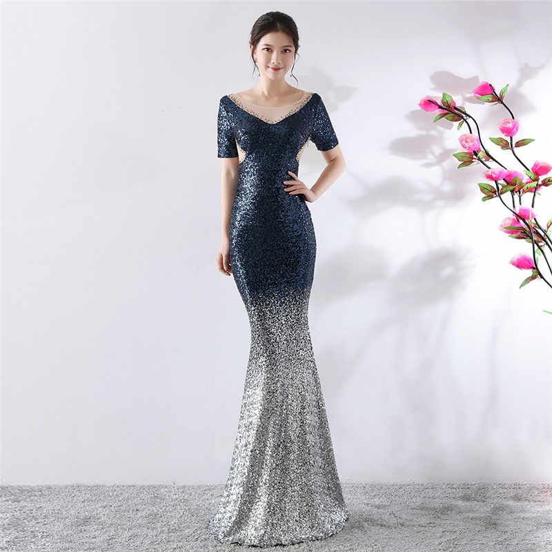 f5839732544 Роскошный синий градиент блесток V шеи Рубашка с короткими рукавами пол  Длина торжественное платье Для женщин