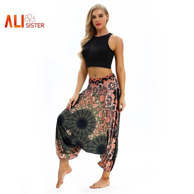 Fashion Women Loose Harem   Pants   2019 New Vintage Graphic Print Casual   Pants   Femme Elastic Waist   Wide     Leg     Pants   Sportwear