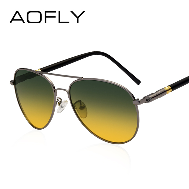 AOFLY Polarized Sunglasses Men's Night Vision Glasses Driving Anti-Glare Metal Frame Brand Design Goggles AF8047