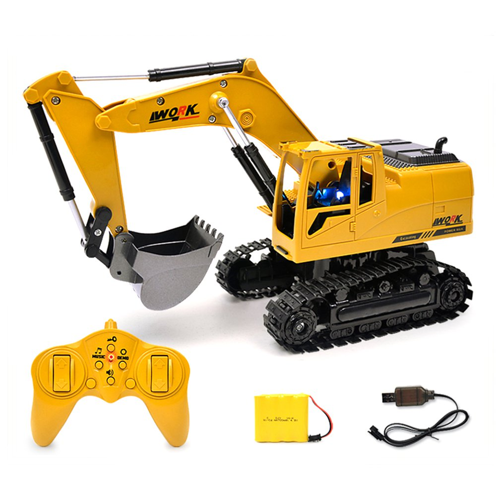 2.4G Eight-Way Alloy Excavator 1:24 Wireless Remote Control Excavator Creative RC Truck Beach Toy RC Engineering Car Tractor