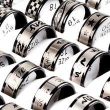 6 шт/лот хит продаж мужское кольцо из нержавеющей стали с черным