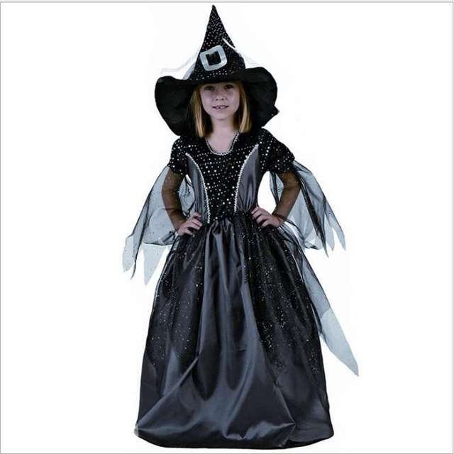 ba202ac6ffc Small Witch Costume Halloween Girl Party Clothes Black Witch Cosplay ...