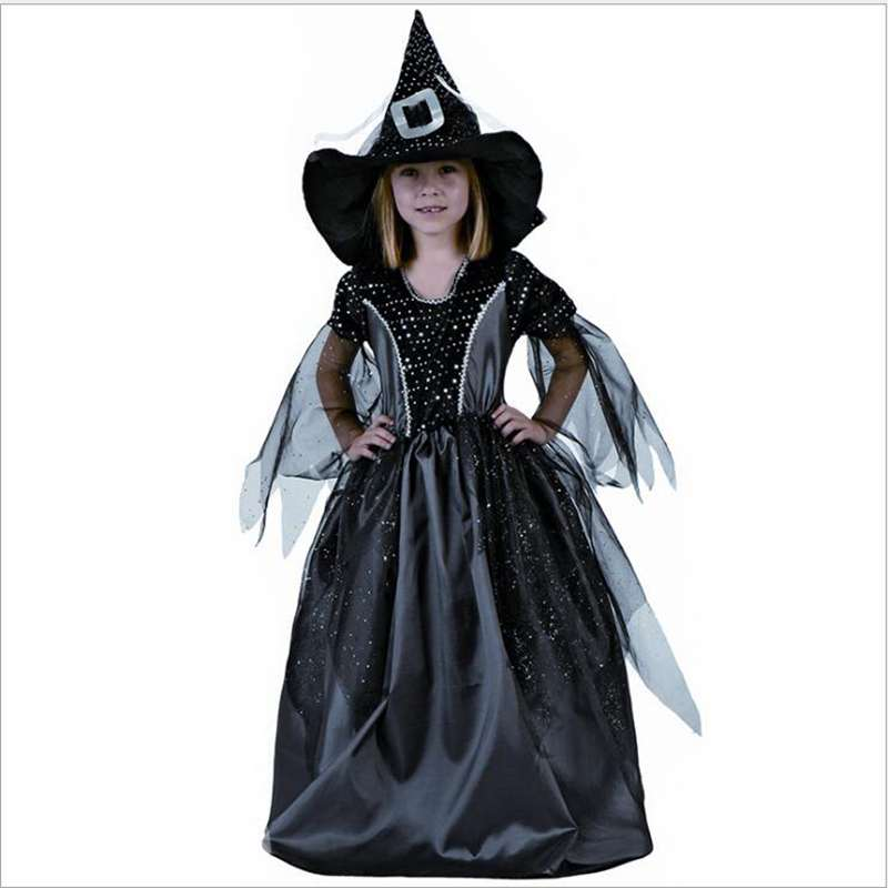 the small witch costume halloween girl black witch cosplay party clothes the dark witch dress. Black Bedroom Furniture Sets. Home Design Ideas