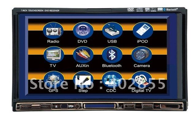 In Dash 7 Inch 2 Din Car DVD Player For Universal Car with AM FM Rear Camera Input RDS IPOD 2 GB Free Map GPS Bluetooth DVB-T